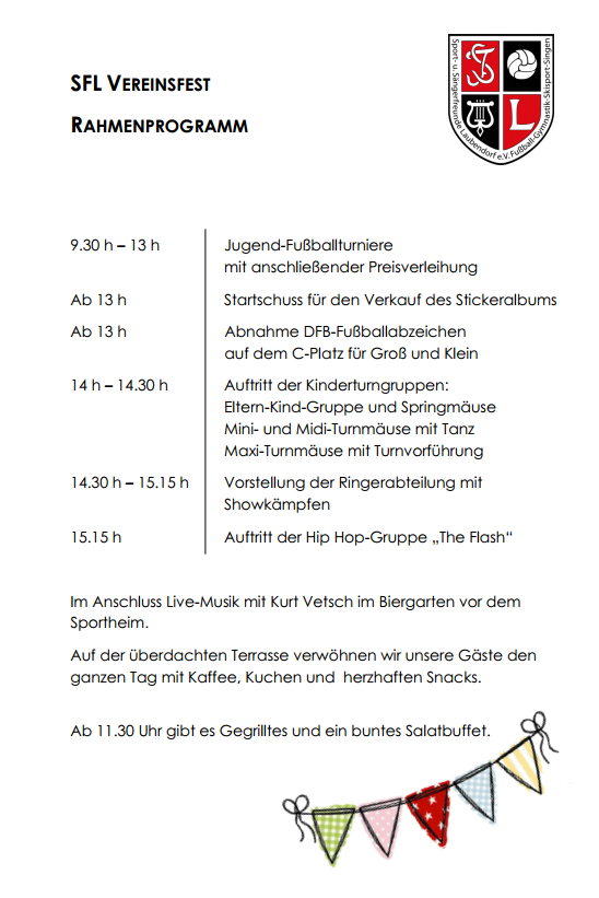 SFL Vereinsfest Rahmenprogramm