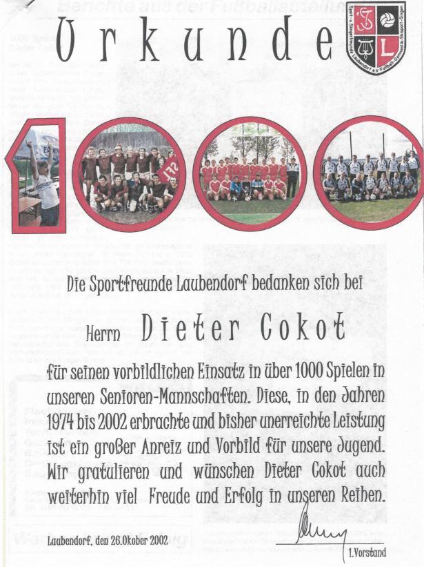 Urkunde für Dieter Cokot anlässlich seiner 1000 Spiele.